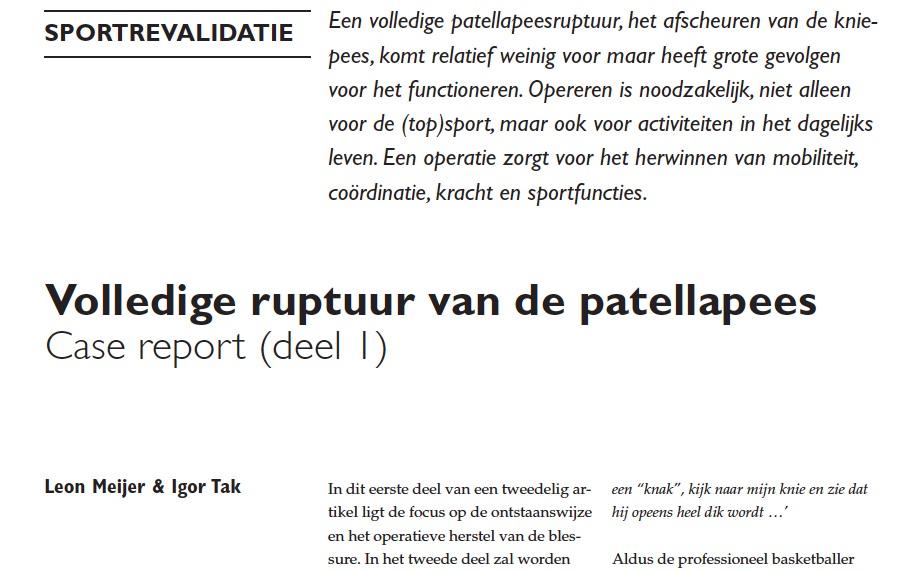 Fysiotherapie Utrecht Oost ruptuur kniepees casuïstiek